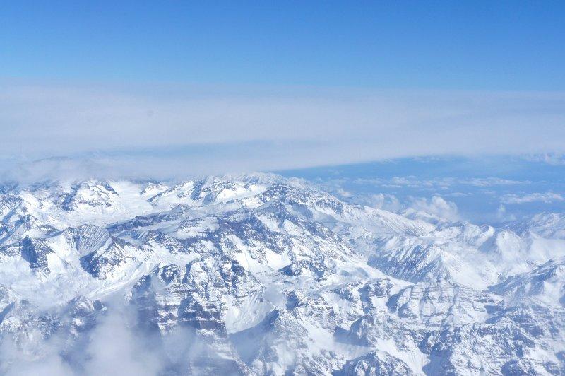 Primeira vista ao chegar em Santiago - Cordilheira dos Andes