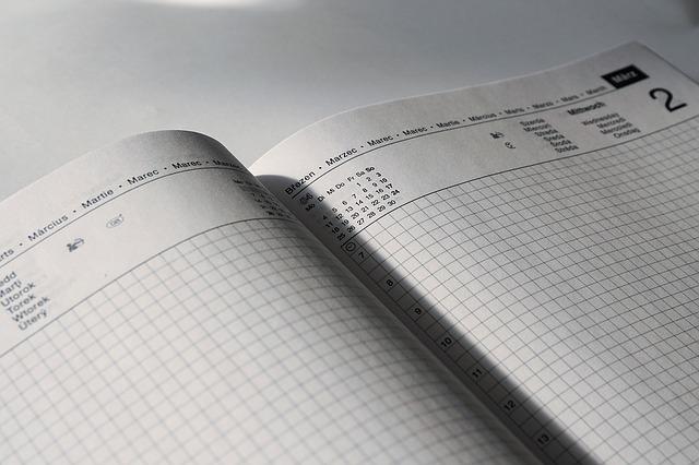 organização pessoal calendário