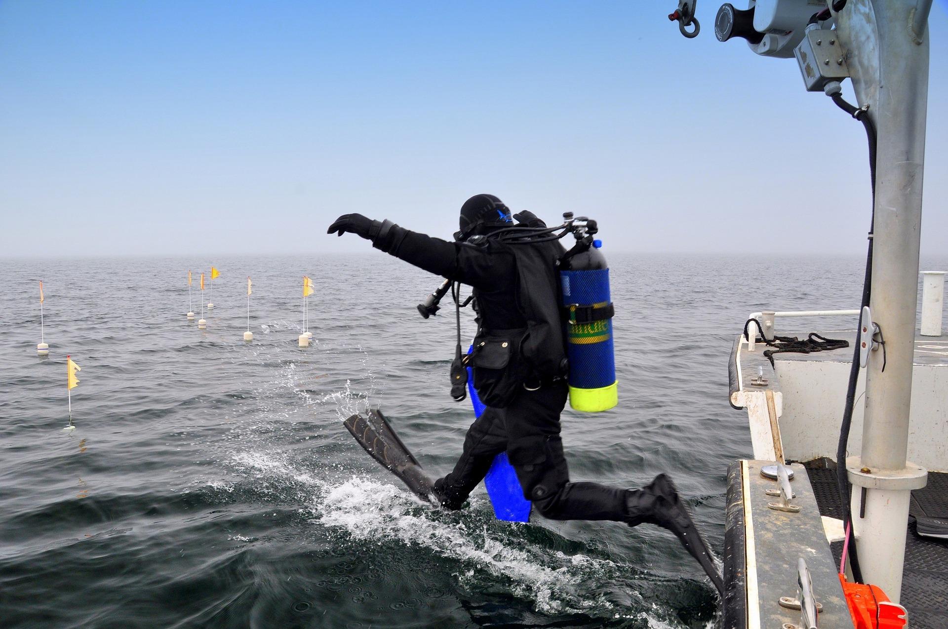 O salto para o mar é o começo da aventura.