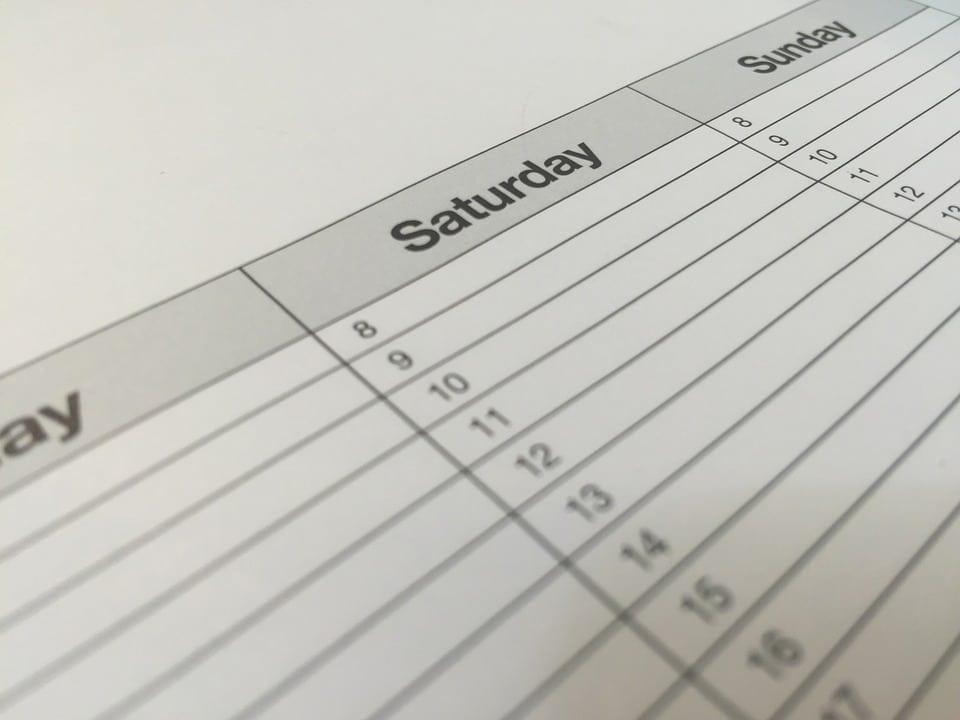 cronograma de suas atividades diárias