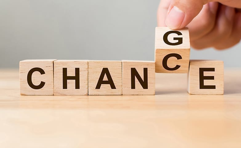 A palavra mudança é convertida em probabilidade