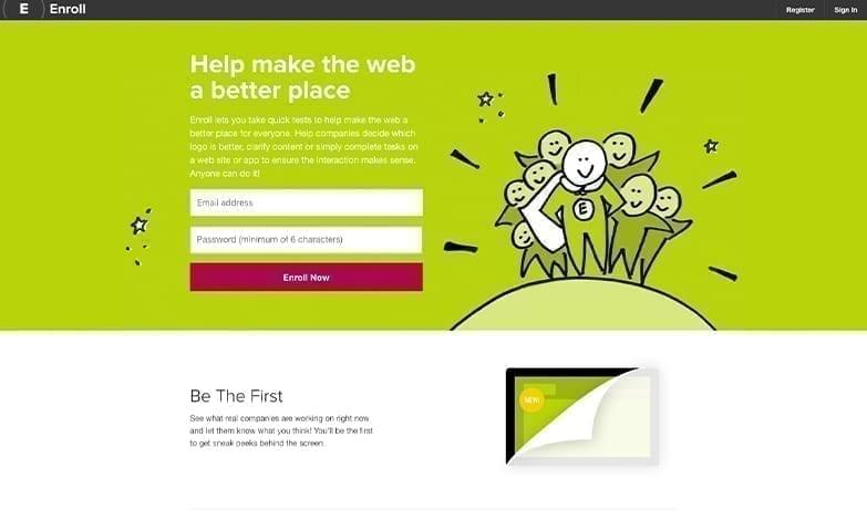 Homepage de um teste de sites e aplicativos